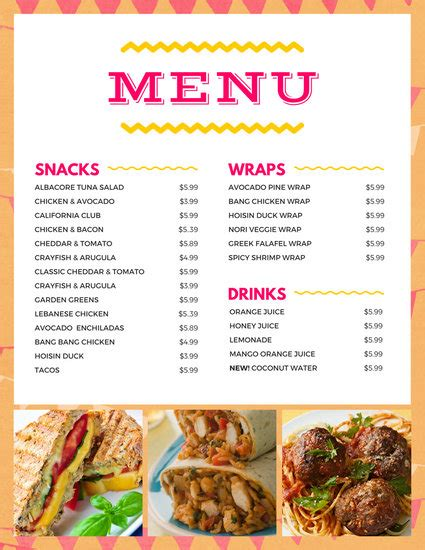 Snack Bar Menu Template bar menu templates canva