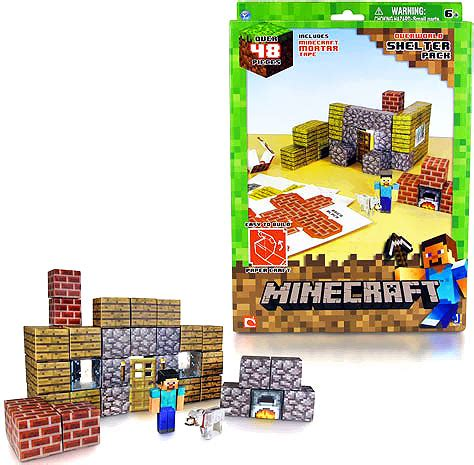 Minecraft Papercraft Shelter Set - minecraft papercraft overworld minecart pack from jazwares