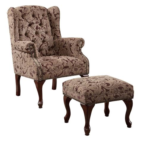 wing chair ottoman coaster queen anne button tufted wing accent chair with
