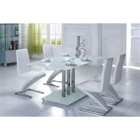 Glass Dining Table With White Chairs Trilogy Glass Dining Table White 6 D216 Chairs