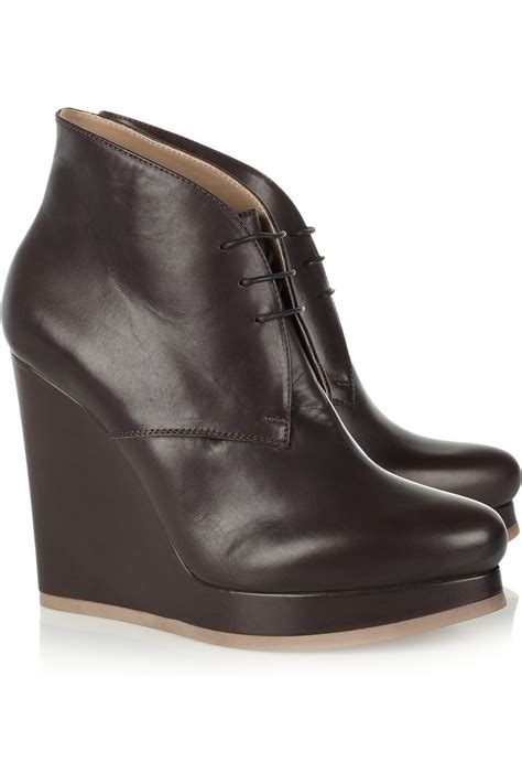 jil sander leather wedge ankle boots in brown lyst
