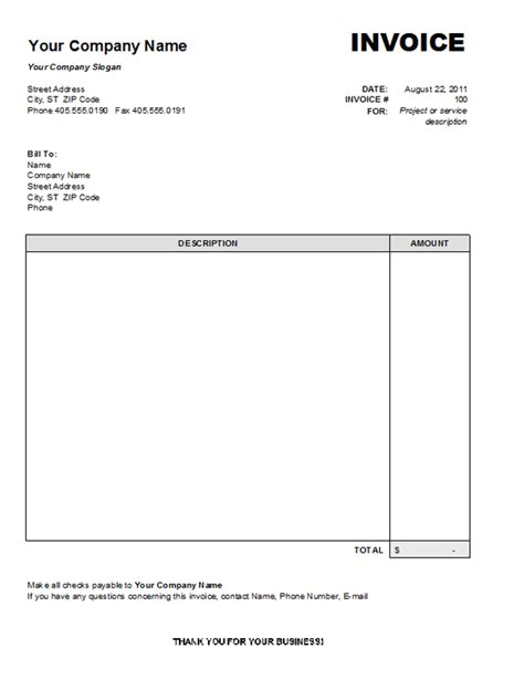printable invoice for services professional services invoice template free service