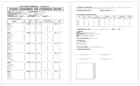 Printable High School Transcript Templates Pictures To Pin On Pinterest Pinsdaddy Elementary School Transcript Template