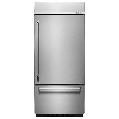 kitchenaid 36 in w 20 9 cu ft built in bottom freezer