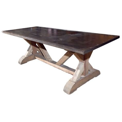 industrial style steel top dining table