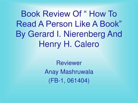 Book Review Like Like by Ppt Book Review Of How To Read A Person Like A Book