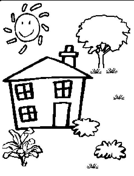 cartoon house black  white clipartsco