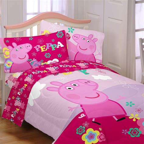 peppa pig 4 piece twin single size comforter and sheet set
