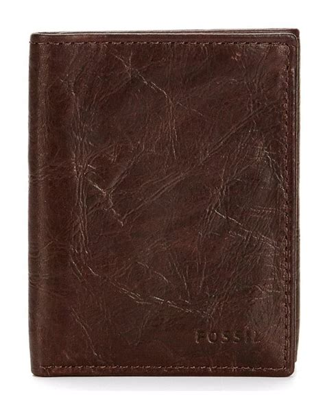 Fossil Ingram Trifold Brown Wallet fossil ingram rfid blocking trifold wallet in brown for lyst
