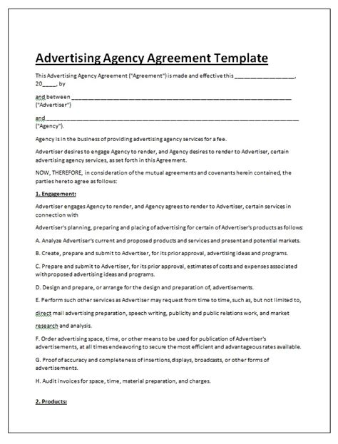 Advertising Contracts Templates advertising contract templates search engine at