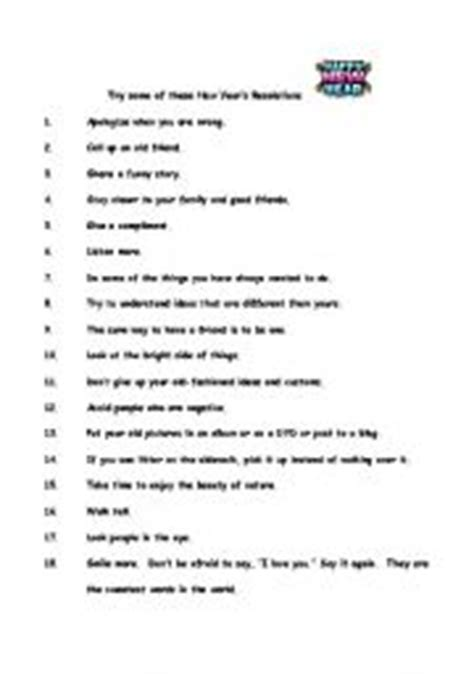 new year activities for esl students new year resolutions worksheet by esl teach