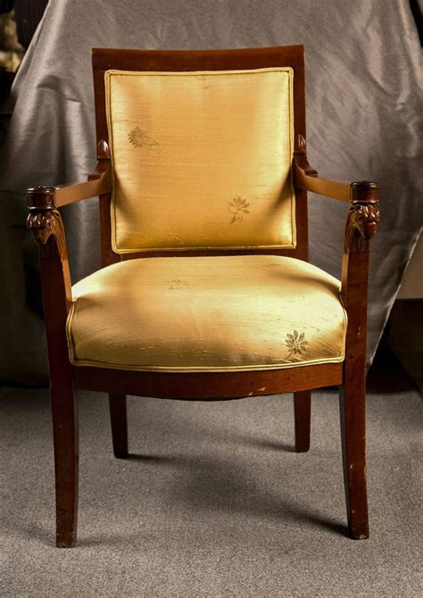 Fabric Armchairs For Sale by Russian Neoclassical Fauteuil Armchair In Silk Fabric For