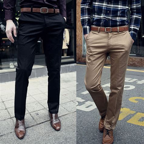 Fashion Trousers Color Slim Design Navy new korean fashion slim fit solid dress flat
