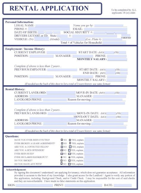 Free Printable Rental Application Form Health Symptoms And Cure Com Rental Application Template Word