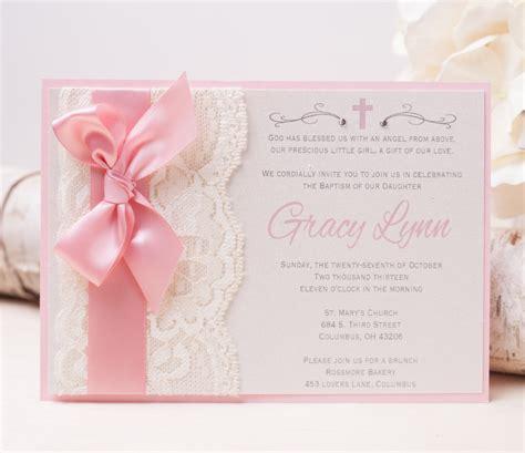 Baptism Invitations by 20 Gracy Lace Invitation Pink Baptism Invitation
