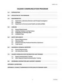 hazard communication program template su sop template stanford