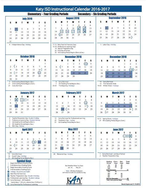Calendar Kisd Katy Isd Calendar 2016 2017 Calendar Template 2016