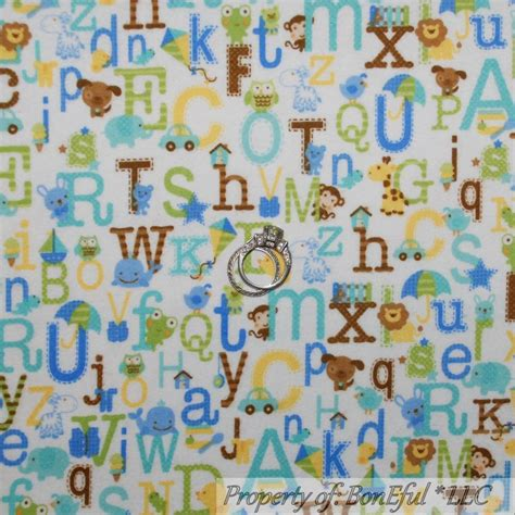 Baby Boy Quilt Fabric by Boneful Fabric Fq Flannel Cotton Quilt Blue Baby Boy Letter Alphabet Animal Ebay