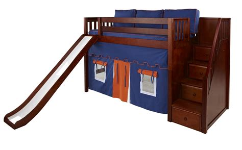 bed with slide maxtrix mid loft bed w staircase on end slide