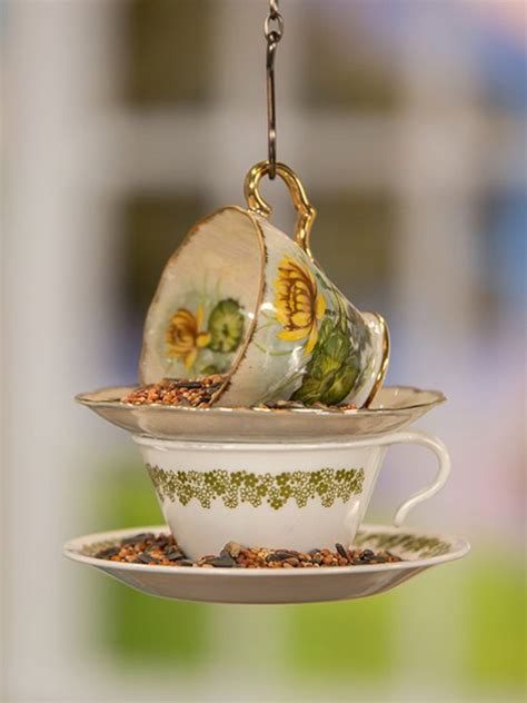 Teacup Bird Feeder Hanging hanging teacup bird feeder crafty diy projects