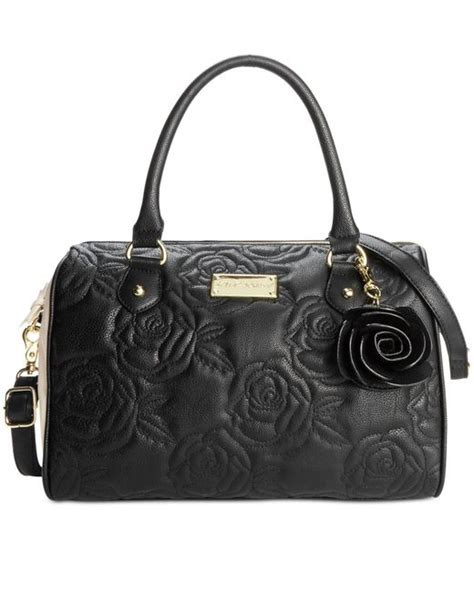 Betsey Johnson Quilted Satchel by Betsey Johnson Quilted Satchel In Black Black