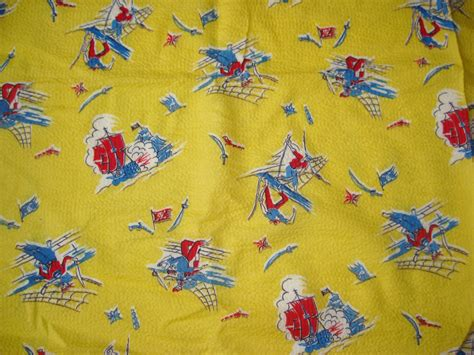 best printable fabric best vintage 40s pirate novelty print yellow cotton fabric