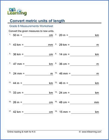 converting measurements worksheet grade 6 measurement worksheets metric lengths mm cm m