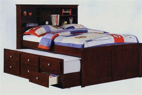 Size Captains Bed by Size Solid Wood Espresso Bookcase Captains Bed W