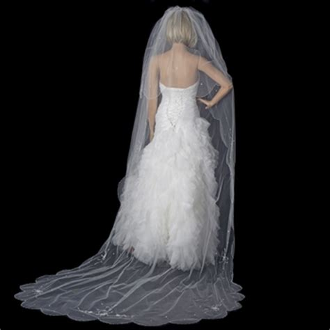 flower pattern veil double layer cathedral length veil with embroidered flower