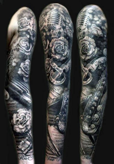 black and grey sleeve tattoos for men 60 sleeve tattoos for lyrical ink design ideas