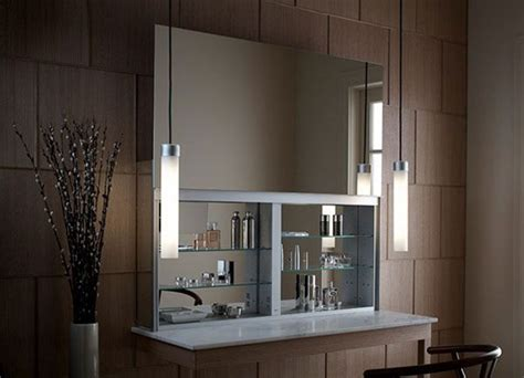 Bathroom Cabines With A Sleek Mirrored Door That Opens Modern Bathroom Mirror Cabinets