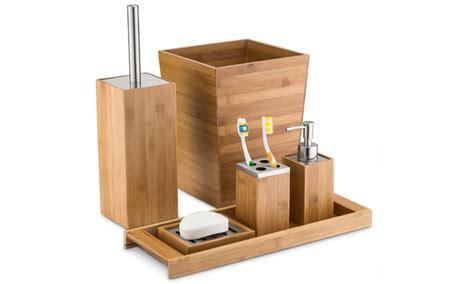 Bamboo Bathroom Accessories Home Basics Bamboo Bathroom Accessories Groupon