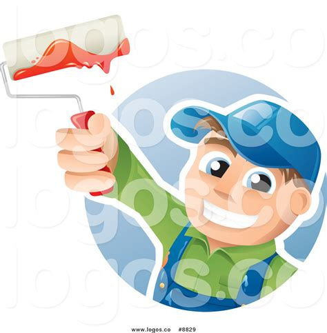 ta house painters royalty free clip art vector happy house painter worker holding up a brush logo by ta