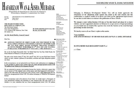 Demand Letter Malaysia As Najib Threatens Wsj Says It Stands By Its Report On The Pm