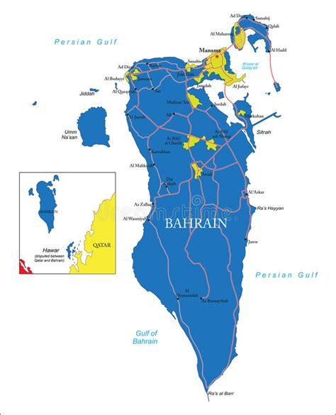 printable road map of bahrain bahrain map stock illustration illustration of world