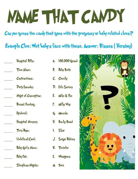 theme names for baby shower jungle animal baby shower game name that candy jungle