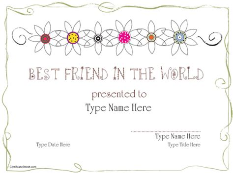 best friend award certificate printable