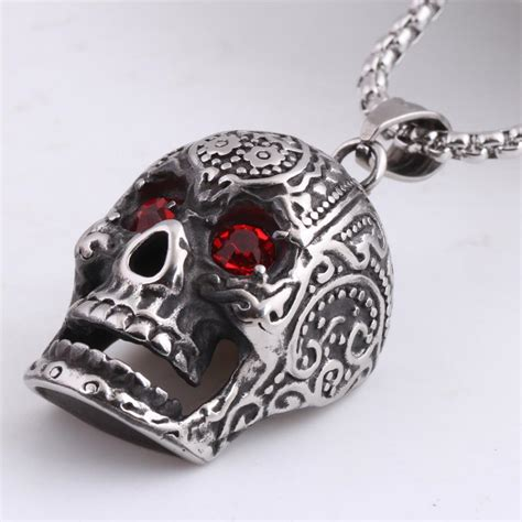 Rhinestone Skull Pendant Necklace necklaces skull obsessed