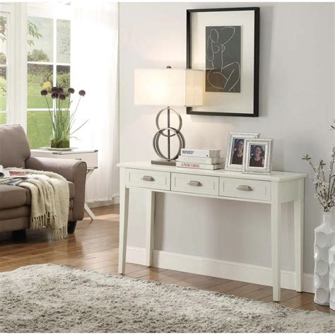 home decorators console table home decorators collection amelia 3 drawer white wooden