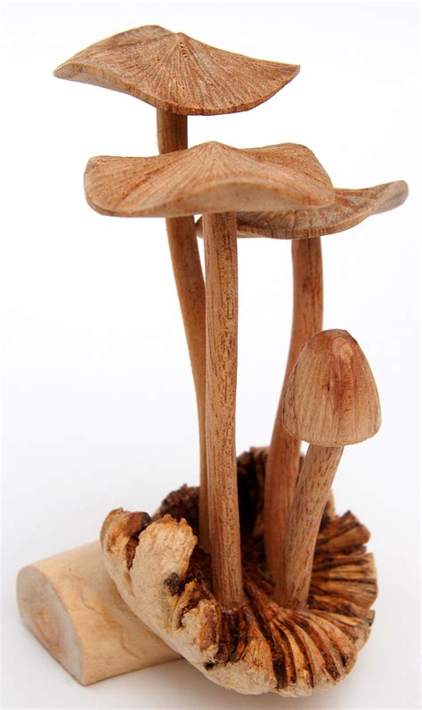 Handmade Wood Carvings - carved wooden mushrooms wooden handcrafted