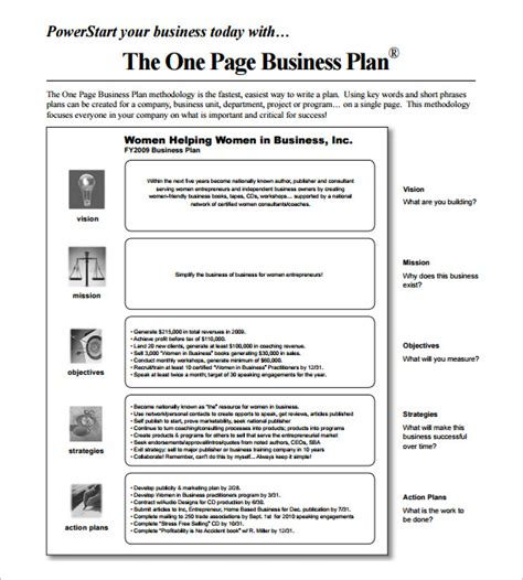 free one page business plan template business plan template 12 free sle exle