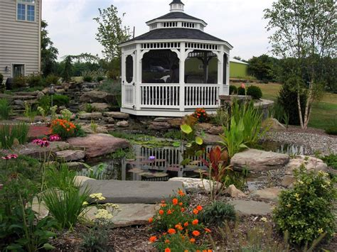 Spa Bedroom Decorating Ideas Gazebo And Landscaping Around Koi Pond Home Design Examples