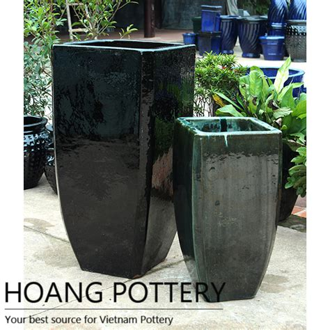 Black Outdoor Planters Square Black Glazed Ceramic Pots Garden Decor Hptv062