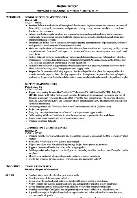 Supply Chain Resume by Supply Chain Engineer Resume Sles Velvet