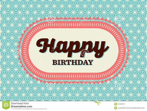 birthday card vintage template happy birthday card stock vector illustration of