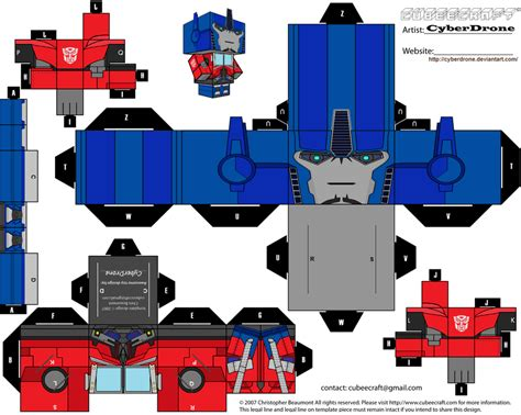 Transformers Papercraft Optimus Prime - cubee optimus prime tf prime v1 by cyberdrone on