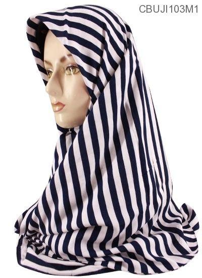 Jilbab Segi Empat Katun jilbab segi empat katun ima monochrome stripe jilbab