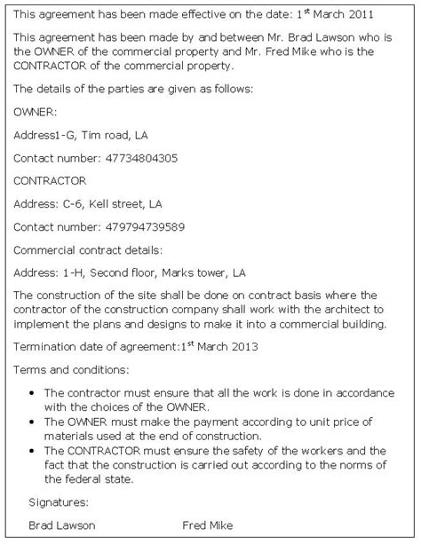 commercial contract template commercial contract agreement sle commercial contract