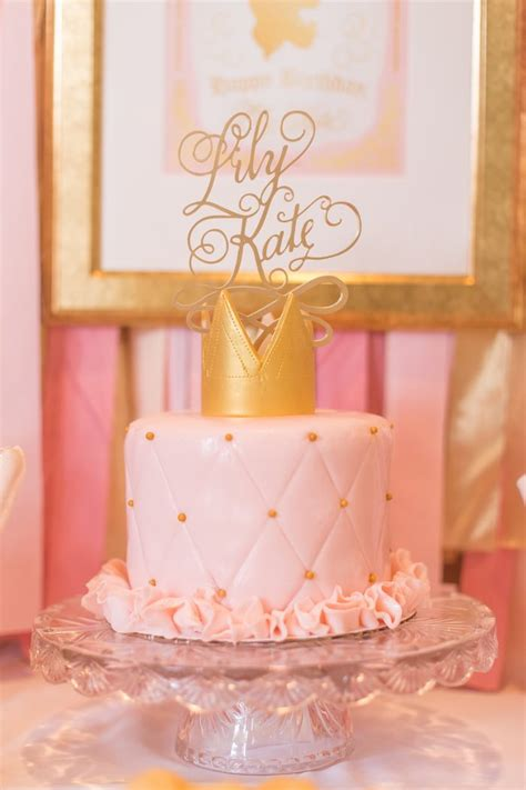 gold themed cake pink gold princess themed birthday party princess