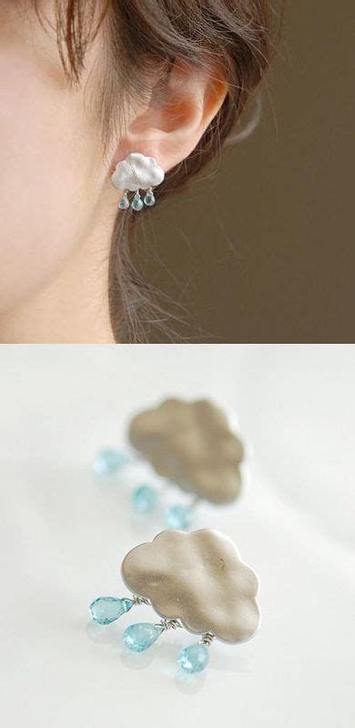 Anting Tali Ear Anting Korea Anting Artis Anting Premium Foto Anting Cantik Berbentuk Awan Mendung Dan Rintik